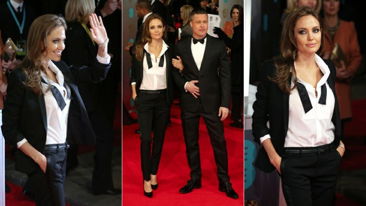 The Stunningly Gorgeous and Insanely Hideous Gowns of the BAFTA Awards | Last, but not least: Hollywood royalty. Angelina Jolie and Brad Pitt. Tuxedos for two. I love her last-call-in-the-casino-piano-bar vibe.