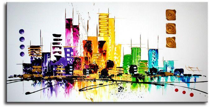 Op vrijwel elke kunstmuur is een skyline-schilderij te vinden.