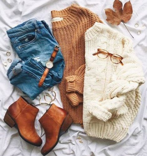 chunky-knit-sweaters-outfit- Flannel and sweaters cute preppy outfits http://www.justtrendygirls.com/flannel-and-sweaters-cute-preppy-outfits/