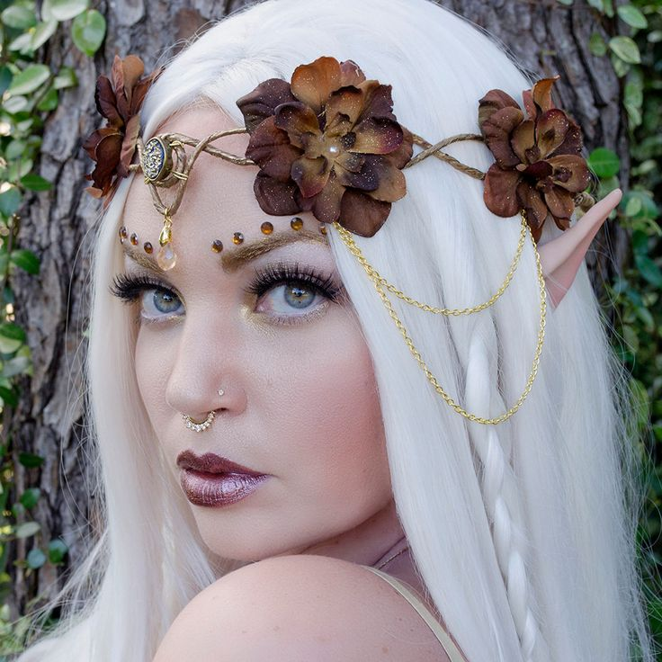 Marrón y oro corona élfica accesorio tocado por Frecklesfairychest