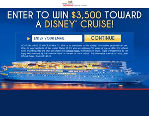 ENTER to WIN $3,500 towards a Disney Cruise! No purchase necessary!