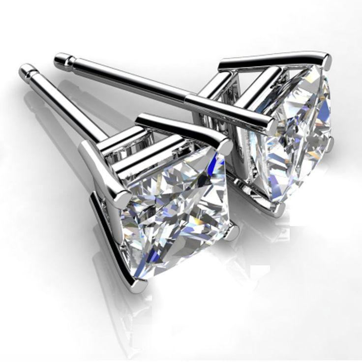 4.00ct Diamond Earring 14K White Gold Excellent Brilliant Princess Cut Stud 531 | eBay