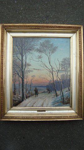 Maleri af Alexander Schmidt - Vinterlandskab med gammel mand og kone på vej.