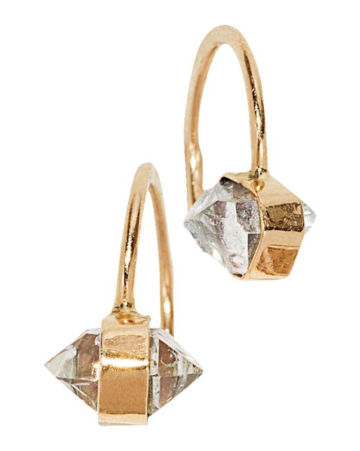 Melissa Joy Manning 14k Yellow Gold Herkimer Diamond Hug Hoops   LuckyShops