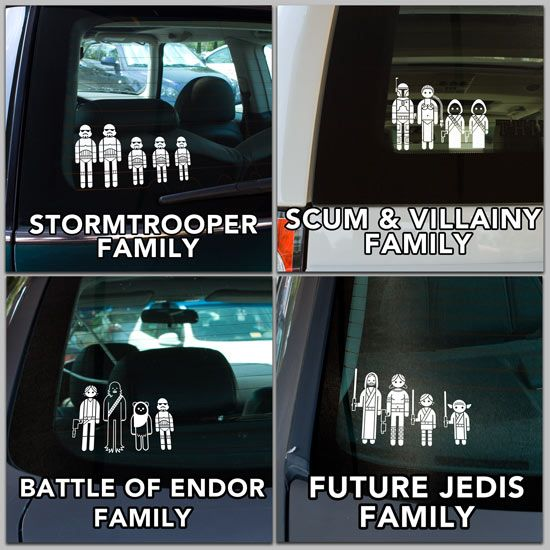 The only family decal i would even consider putting on my car star wars family car decals from thinkgeek is the force is strong in your car