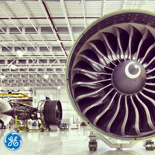 The GE90 (foreground) and GEnx engines at GE Aviation in Peebles, OH.