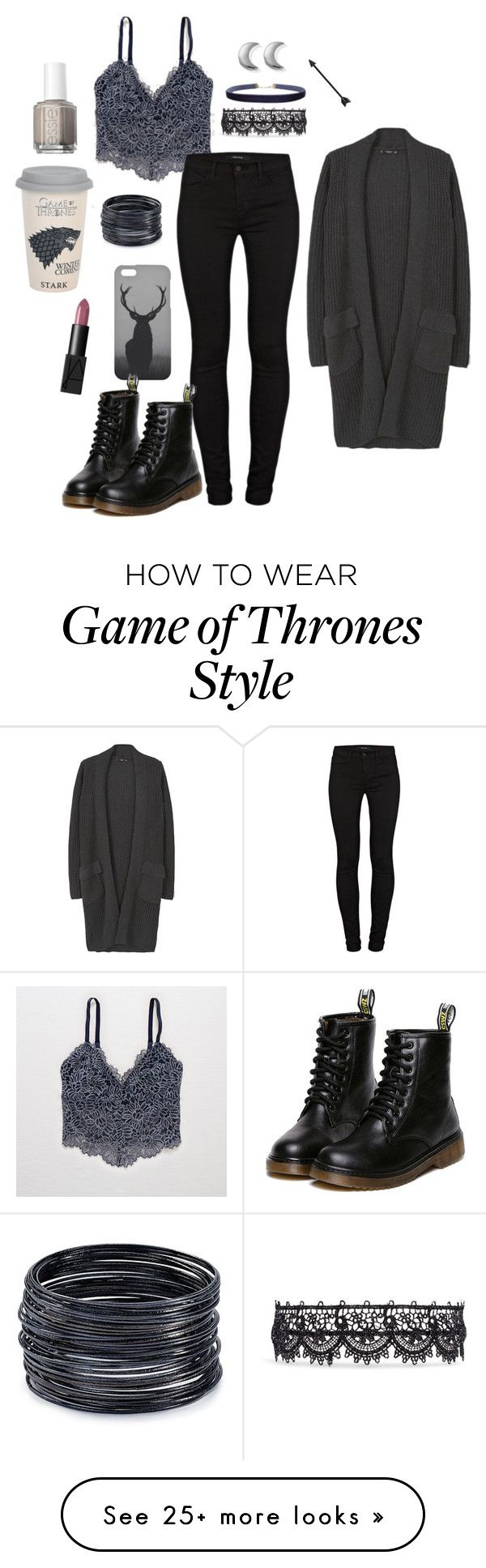 """Untitled #1098"" by equestrianartist on Polyvore featuring Aerie, MANGO, J Brand, Fallon, Mr. Gugu & Miss Go, Humble Chic, ChloBo, ABS by Allen Schwartz, NARS Cosmetics and Essie"
