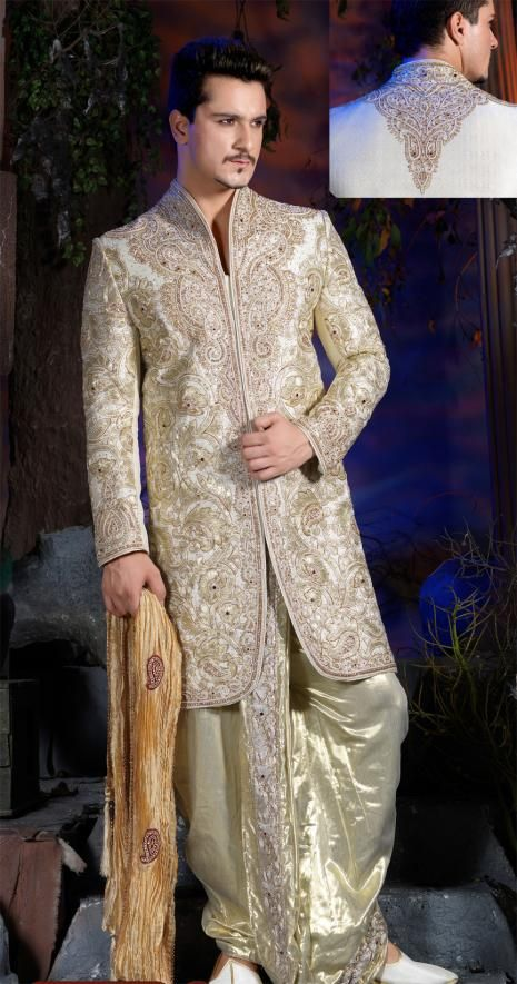 Image result for cream gold brocade sherwani