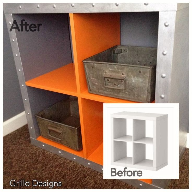 IKEA Hack: Expedit Cubes - Industrial Inspired Makeover for a kid's bedroom.