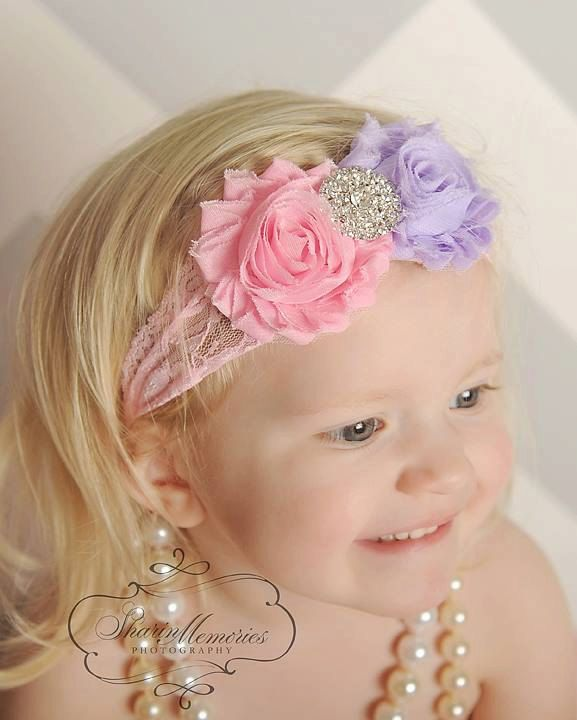 Diadema rosa/lavanda flor chica venda lactante bebé diadema