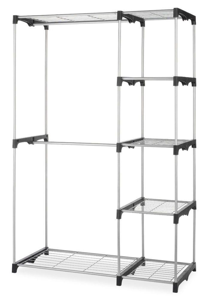 Portable Closet Rack Organizer w/ Shelves, Extra Towel Storage, Lightweight  #Whitmor