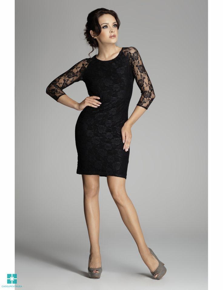 Rochie de seara din dantela - negru M076-STK
