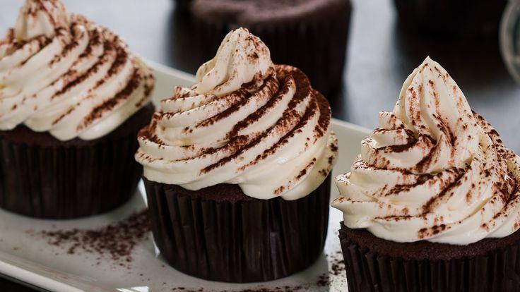 Chocolate Cupcakes with Irish Cream Frosting