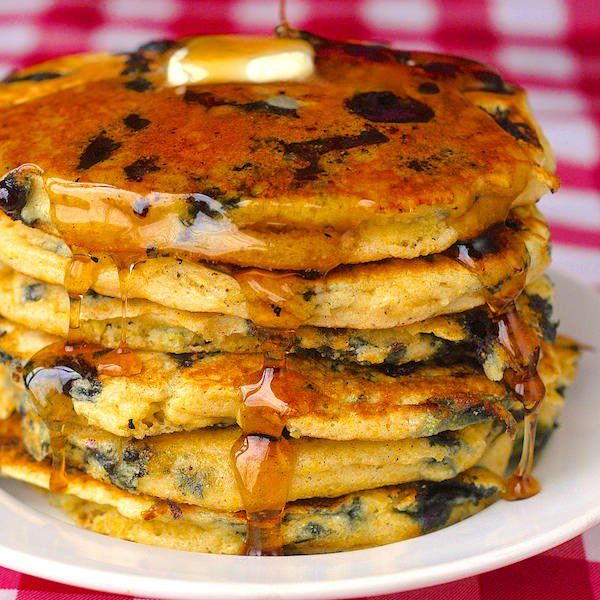 Blueberry Lemon Cornmeal Pancakes - our most popular pancake recipe ever makes a great Christmas morning breakfast!