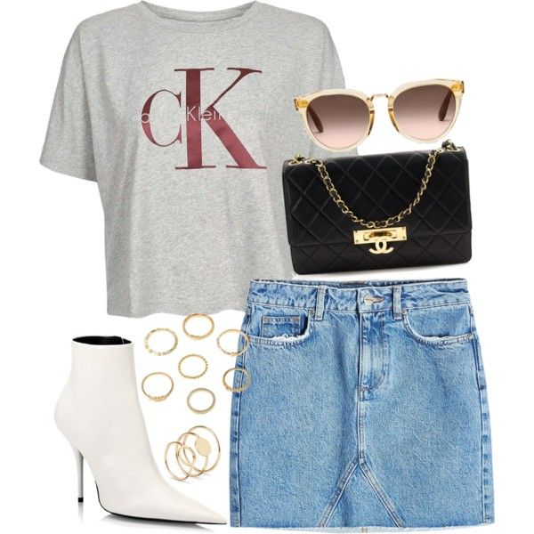 A fashion look from June 2017 featuring Calvin Klein t-shirts, Anine Bing mini skirts y Balenciaga ankle booties. Browse and shop related looks.