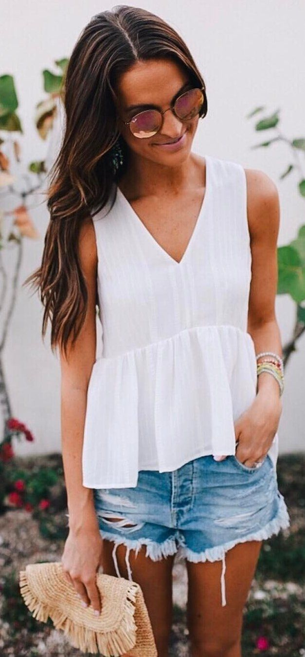 #spring #outfits White Peplum Tank + Ripped Denim Short  ✌