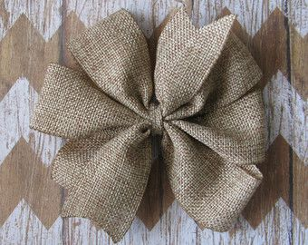 SHIMMER Burlap Hair BowNatural by beautifulChaos101 on Etsy