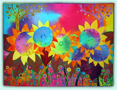 Sunflowers: Psalms 138, Sunflowers Art, Applique Quilts, Folk Art, Sunflowers Ii, Melody Johnson, Buttons Flower, Art Quilts, Contemporary Quilts