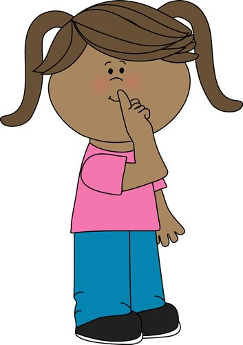 quiet mouth visual | Quiet Girl Clip Art Image - little girl with a finger over her mouth ...
