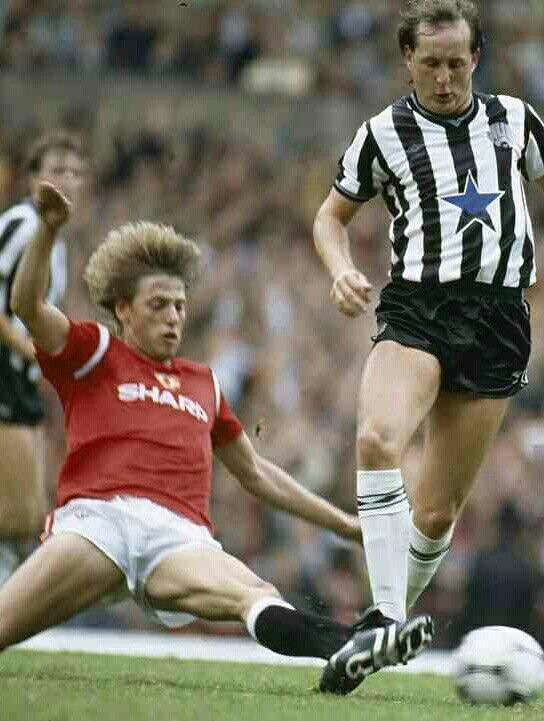 Man Utd 5 Newcastle Utd 0 in Sept 1984 at Old Trafford. Jesper Olsen tackles United old boy Dave McCreery #Div1