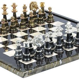 This chess set exemplifies luxury! This is an exceptional set of chessmen crafted by Italian artisans in Italy. This set will become the centerpiece of any room. The pieces are solid brass plated with 24K gold/silver with wood in between which is dipped in gold/silver to give a unique finish. There are several clear coats […]