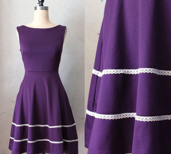 COQUETTE PLUM - Eggplant deep purple dress with pockets / flared circle skirt // ivory crochet / bridesmaid // vintage inspired / holiday on Etsy, £43.43