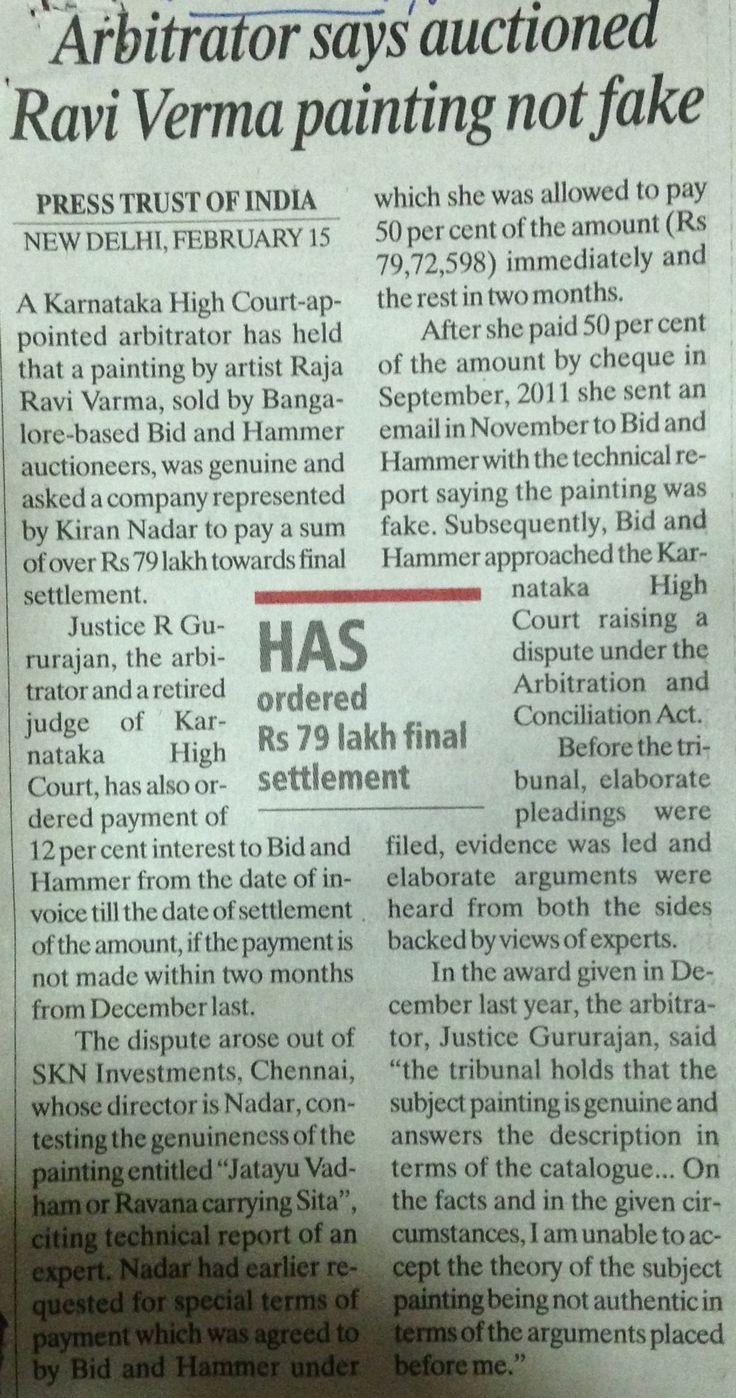 Arbitrator says auctioned Ravi Varma painting not fake, INDIAN EXPRESS, Mumbai, 18th Feb 2015