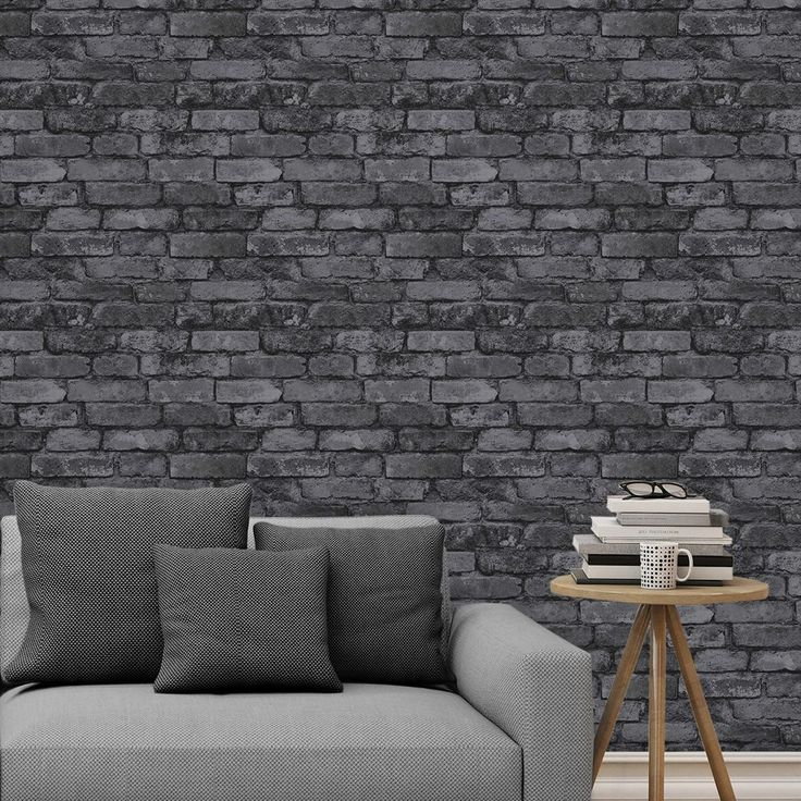 Black rustic brick effect wallpaper windsor wallcoverings fd41489 this fantastically realistic black brick wallpaper by windsor wallcoverings will make a