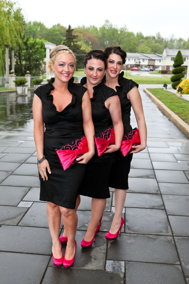 Black dress sandals for wedding - Black And Hot Pink Bridesmaids My Girls Not Necessarily