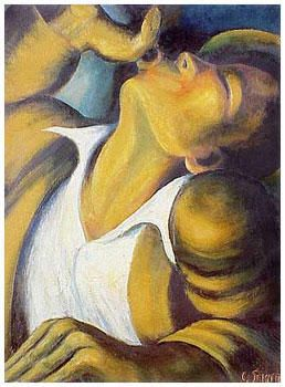 The Wine Drinker - Gerard Sekoto - Expressionism, 1945