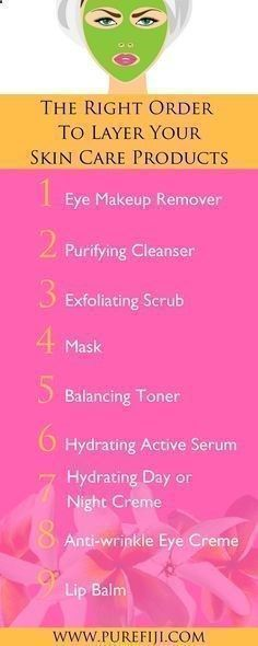 DIY Skin Care | Follow these steps to to ensure that your skin is getting the most out of each product. If you will never reach their full impact. Learn how to use these anti aging natural skin care products in your morning and night time routine in the right order at www.purefiji.com/... | Coconut Oil For Natural Beauty #skincareroutine #skincareproducts