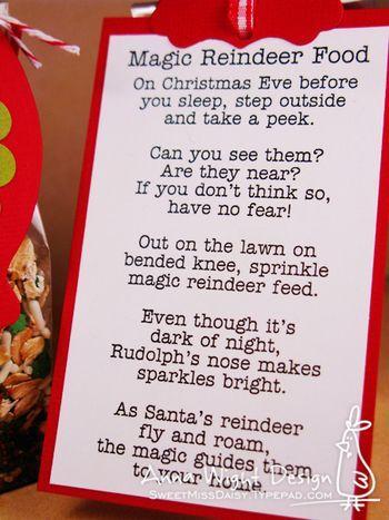 Magic Reindeer Food poem | Party Ideas | Pinterest | Reindeer Food ...
