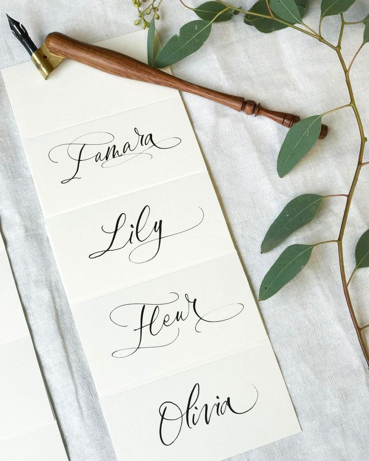 Classic black ink modern calligraphy placement cards for Fresh Beauty.