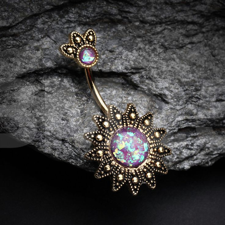 Golden Antique Tribal Sun God Opal Sparkle Belly Button Ring by BM25Jewelry on Etsy https://www.etsy.com/listing/464122244/golden-antique-tribal-sun-god-opal