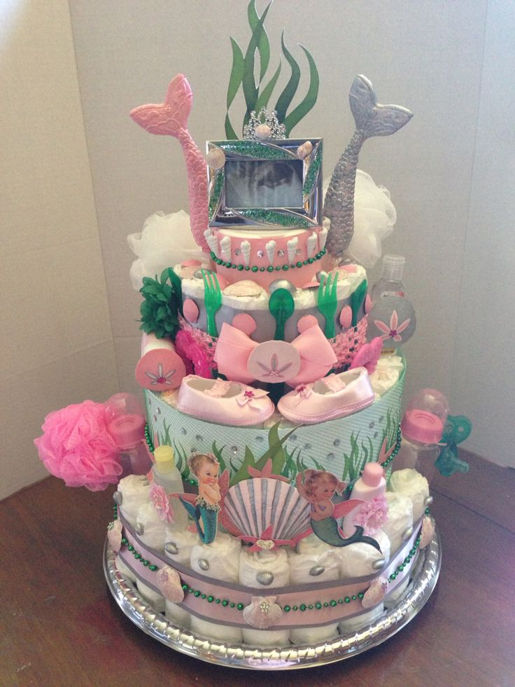 Vintage mermaid diaper cake made by Deanna Mize look me up on cb if you are local and want to order!