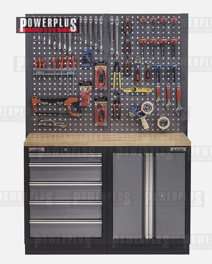 werkbank mit multiplexplatte lochwand werkzeugschrank mit 5 schubladen und werkstattschrank. Black Bedroom Furniture Sets. Home Design Ideas