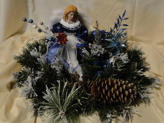 Blue and Silver Angel with Wreath by LilaEveCrafts on Etsy, $60.00