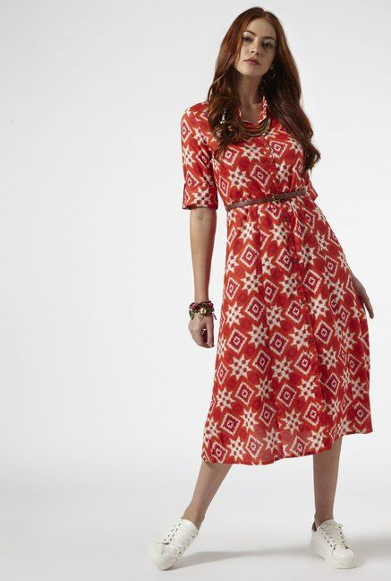 523350d2443df Bombay Paisley by Westside Bright Pink Dress with Belt | Ethnic ...