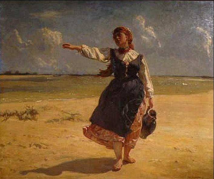 "Jozef Chelmonski  ""Peasant Girl with a Jug"", 1875"