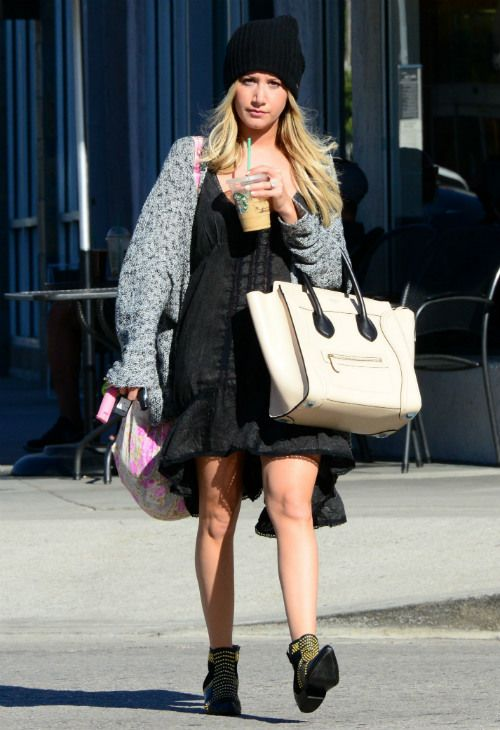 Ashley Tisdale wearing Celine Bag in Powder Anine Bing Boots With ...