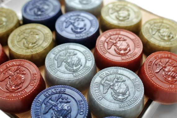 4 Military Soap / Soap with US Marine Corps Emblem by SkyRainSoap