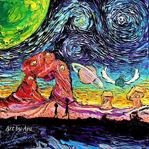 Rick and Morty Art - Starry Night print van Gogh Never Saw Another Dimension by Aja 8x8, 10x10, 12x12, 20x20, and 24x24 inches choose