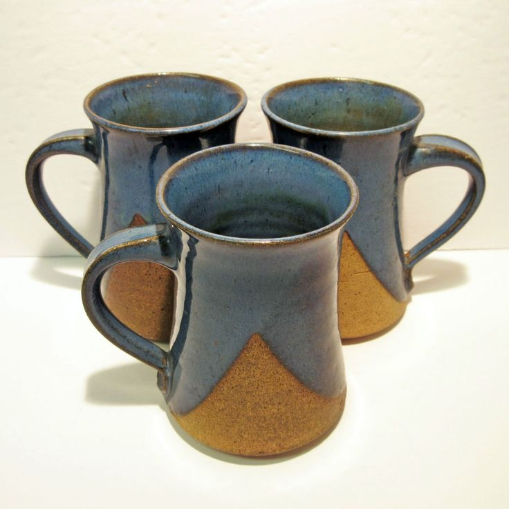 3 Charles Counts Hand Signed RISING FAWN Pottery Hand Crafted Stoneware Mugs #RisingFawnPotteryStudioCharlesCounts