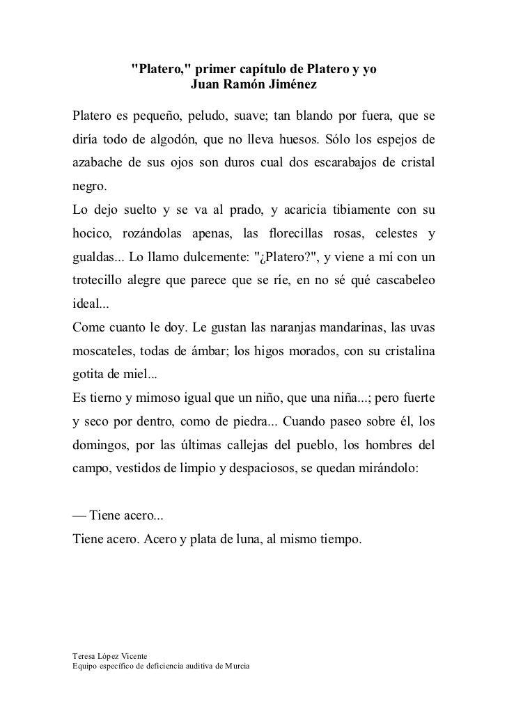 Platero Y Yo 1º CapíTulo by Teresa López via slideshare