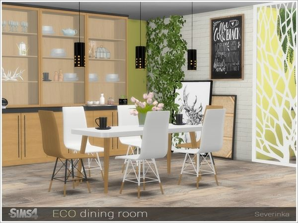 Eco Dining Room By Severinka For The Sims 4 Sims 4 Dining Room Dining Room Decor Scandinavian Dining Sets