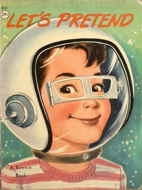 retro future, 50s, 1950s, 1957, lets pretend, sci-fi girl, astronaut, 50s, 1950s, helmet, glasses, space future, future space, smile by FuturisticNews.com
