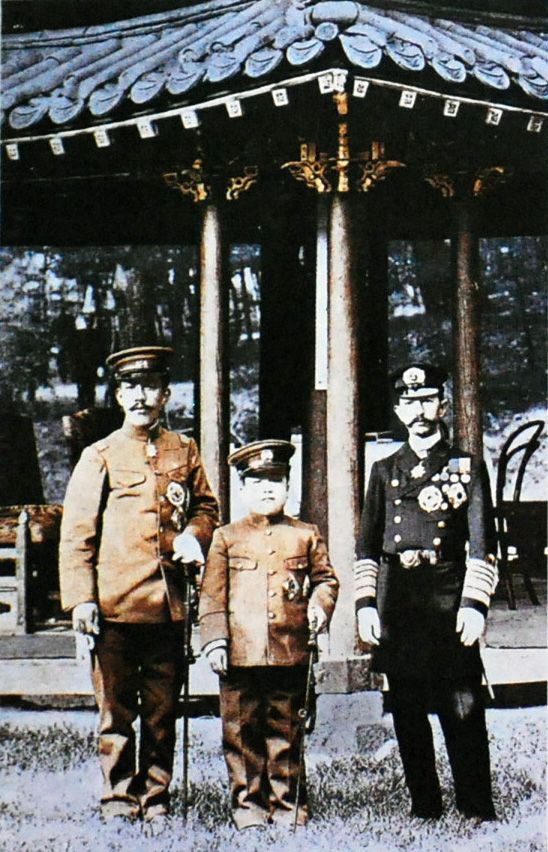 Emperor Sunjong of Korea, Prince Imperial Yeong of Korea, and Crown Prince Yoshihito (future Emperor Taisho) of Japan in Korea, 1907