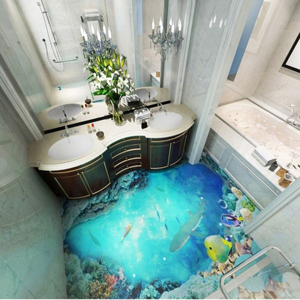 Custom 3d Dream Deep Sea World Photo Self Adhesive Floor Sticker For Living Room Bathroom Mural Wallpaper Wish In 2020 Sea Bathroom Decor Floor Wallpaper Bathroom Mural