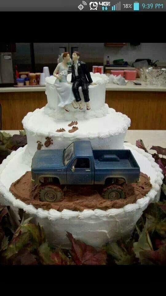 Lets go mudding wedding cake