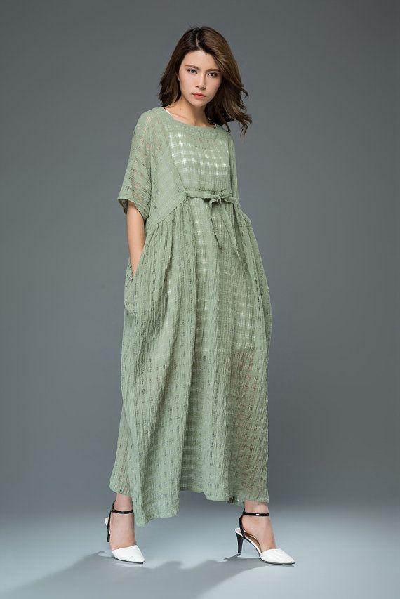3f4546f63e Green Linen Dress - Loose-Fitting Short-Sleeved Kaftan Style Summer ...
